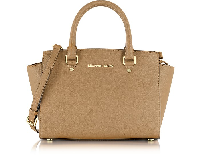 Dark Khaki Selma Medium Saffiano Leather Top-Zip Satchel - Michael Kors