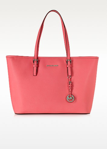 Jet Set Top Zip Coral Saffiano Leather Medium Travel Tote  - Michael Kors