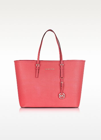 Jet Set Travel Coral Saffiano Leather Top-Zip Tote - Michael Kors