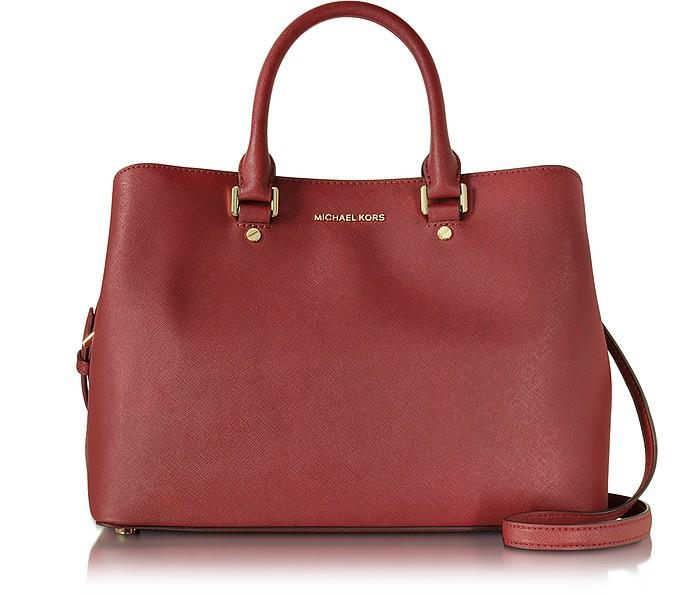Savanna Cherry Red Saffiano Leather Large Satchel Bag - Michael Kors
