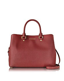 Savanna Cherry Red Saffiano Leather Large Satchel Bag - Michael Kors