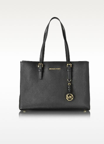Black Saffiano Leather Jet Set Travel Large EW Tote - Michael Kors