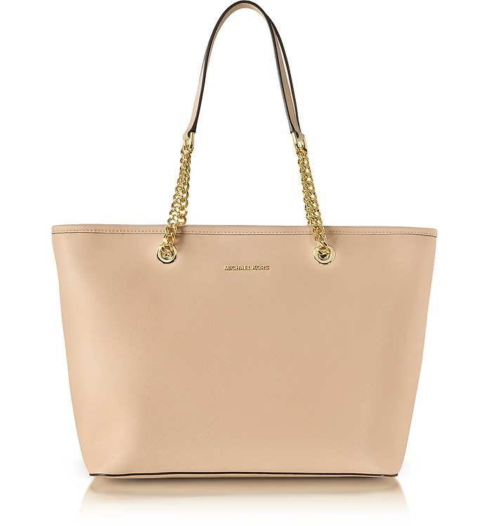 Oyster Saffiano Leather Jet Set Travel Chain T/Zip Multifunction Tote - Michael Kors