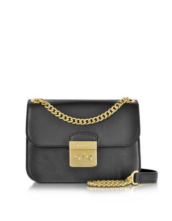 michael kors female sloan editor medium black leather chain shoulder bag