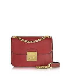 Sloan Editor Medium Cherry Leather Chain Shoulder Bag - Michael Kors