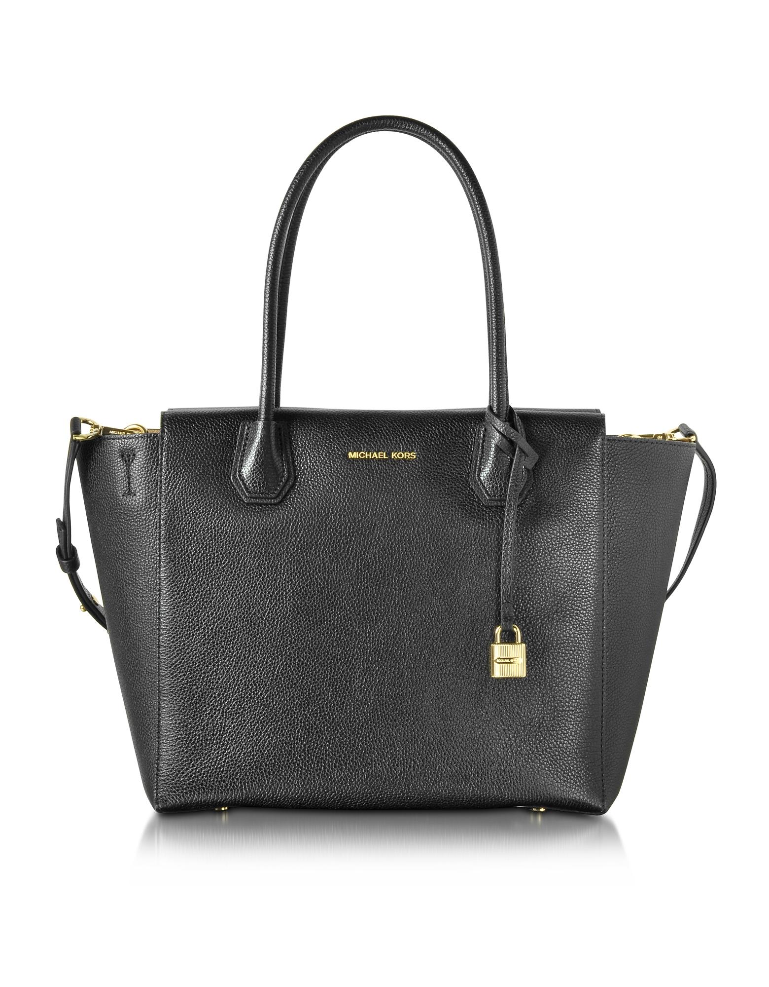 Michael Kors Handbags, Mercer Large Black Bonded Pebble Leather Satchel