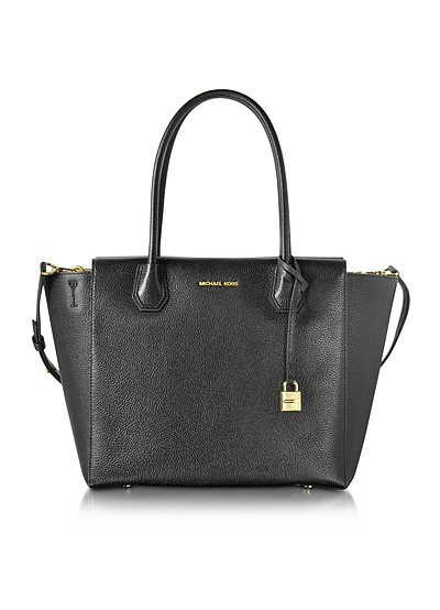 Mercer Large Black Bonded Pebble Leather Satchel - Michael Kors