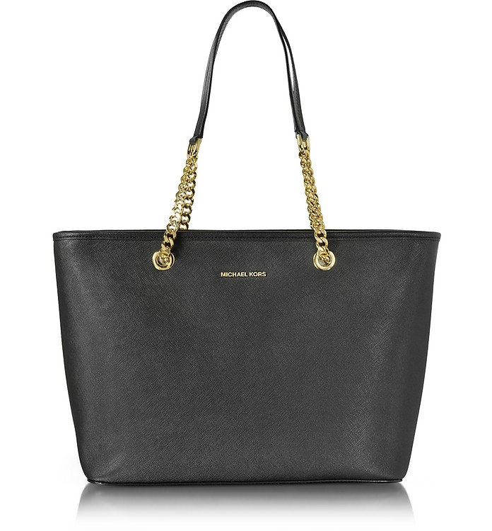 Black Saffiano Leather Jet Set Travel Chain T/Zip Multifunction Tote - Michael Kors