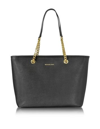 michael kors female black saffiano leather jet set travel chain tzip multifunction tote
