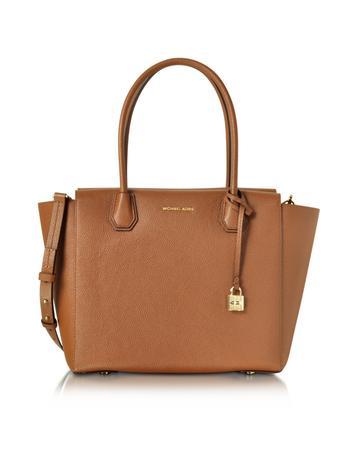michael kors female mercer large luggage bonded pebble leather satchel
