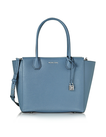 Mercer Large Denim Bonded Pebble Leather Satchel