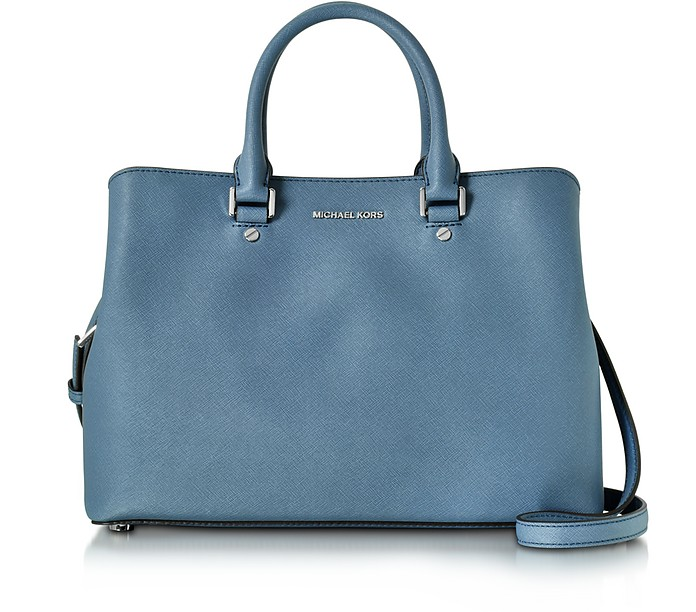 Savannah Denim Saffiano Leather Large Satchel Bag - Michael Kors