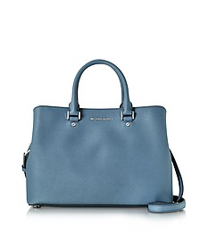 Savanna Denim Saffiano Leather Large Satchel Bag - Michael Kors