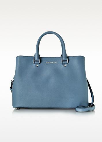 Savannah Denim Saffiano Leather Large Satchel Bag - Michael Kors