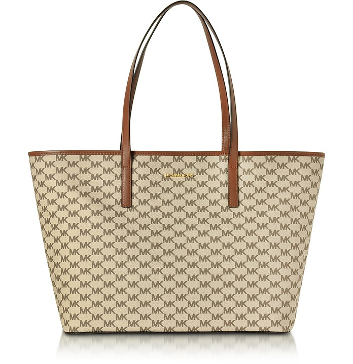 Emry Natural/Luggage Coated Canvas Large TZ Tote - Michael Kors