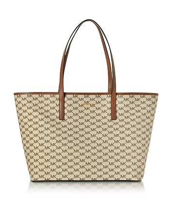 michael kors female emry naturalluggage coated canvas large tz tote