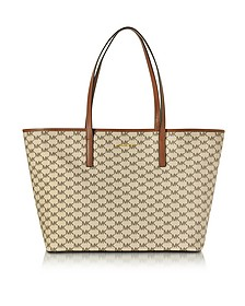 Emry Natural/Luggage色涂层帆布大号TZ手提袋 - Michael Kors