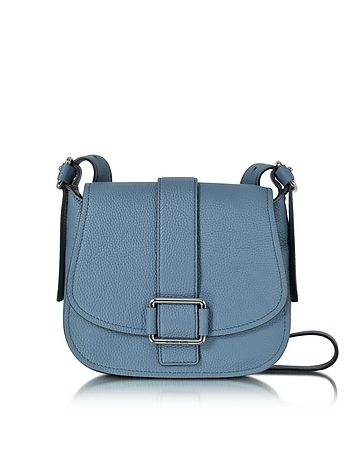 Bags-Maxine Large Denim Leather Saddle Bag