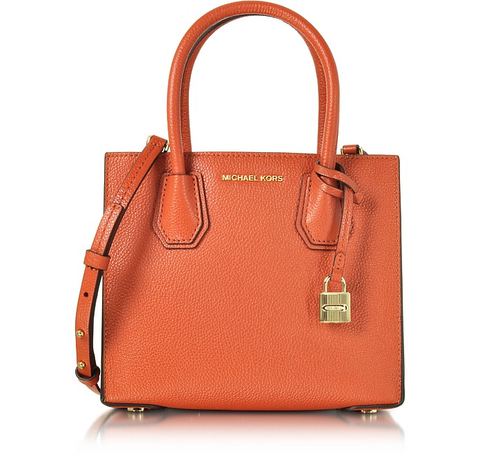 Mercer Orange Pebble Leather Medium Crossbody - Michael Kors