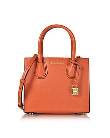 Mercer Orange Pebble Leather Medium Messenger Bag - Michael Kors