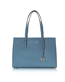 Denim Saffiano Leather Jet Set Travel Large EW Tote - Michael Kors