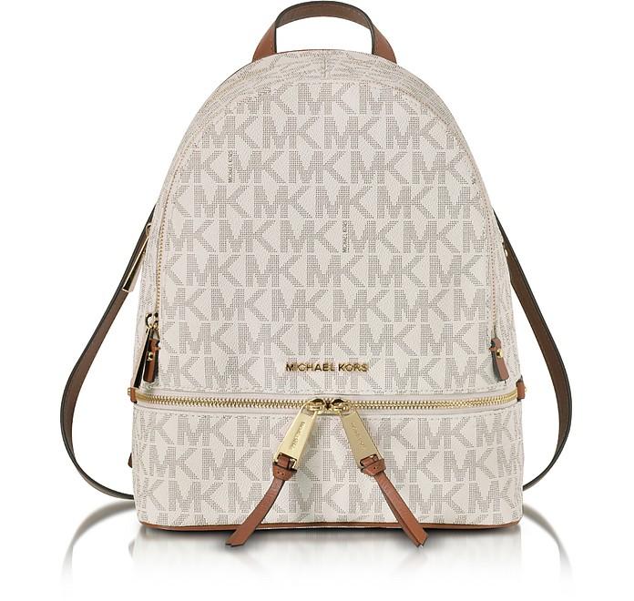 Rhea Zip Vanilla MK Signature Coated Twill Medium Backpack - Michael Kors