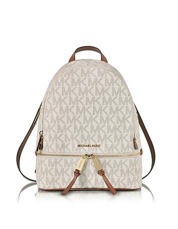 Michael Kors - Rhea Zip Vanilla MK Signature Coated Twill Medium Backpack
