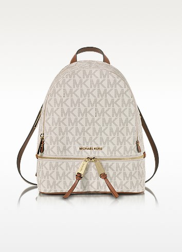 Rhea Zip Vanilla MK Signature Coated Twill Medium Backpack - Michael Kors