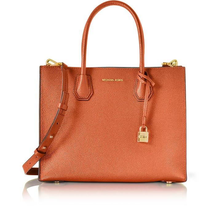 Mercer Large Orange Pebble Leather Convertible Tote Bag - Michael Kors