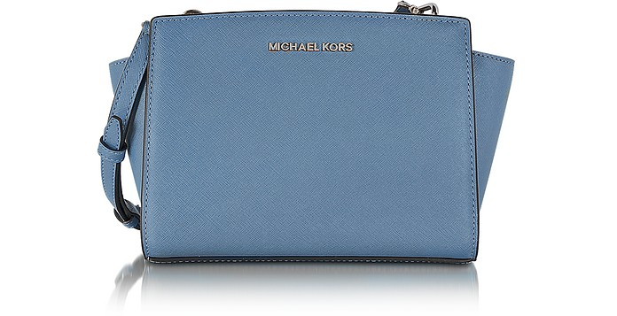 Selma Denim Saffiano Leather Mini Messenger - Michael Kors