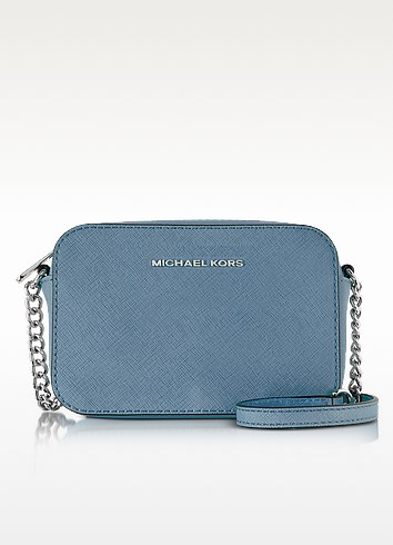 Jet Set Large EW Denim Saffiano Leather Crossbody Bag - Michael Kors