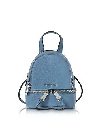 Michael Kors - Rhea Zip X-Small Denim Leather Messenger Backpack
