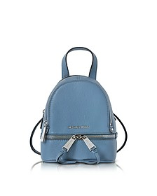 Rhea Zip X-Small Denim Leather Messenger Backpack  - Michael Kors