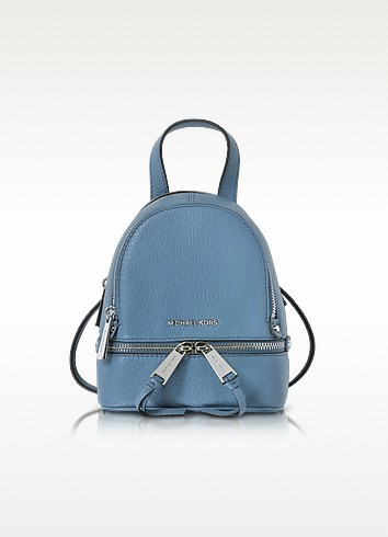 Rhea Zip X-Small Denim Leather Messenger Backpack  - Michael Kors