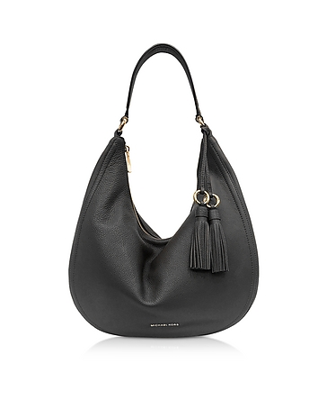 Lydia Black Pebbled Leather Hobo Bag