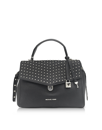 Bristol Black Studded Leather Top Handle Satchel Bag