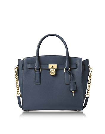 Hamilton Large Admiral Blue Pebbled Leather Satchel Bag