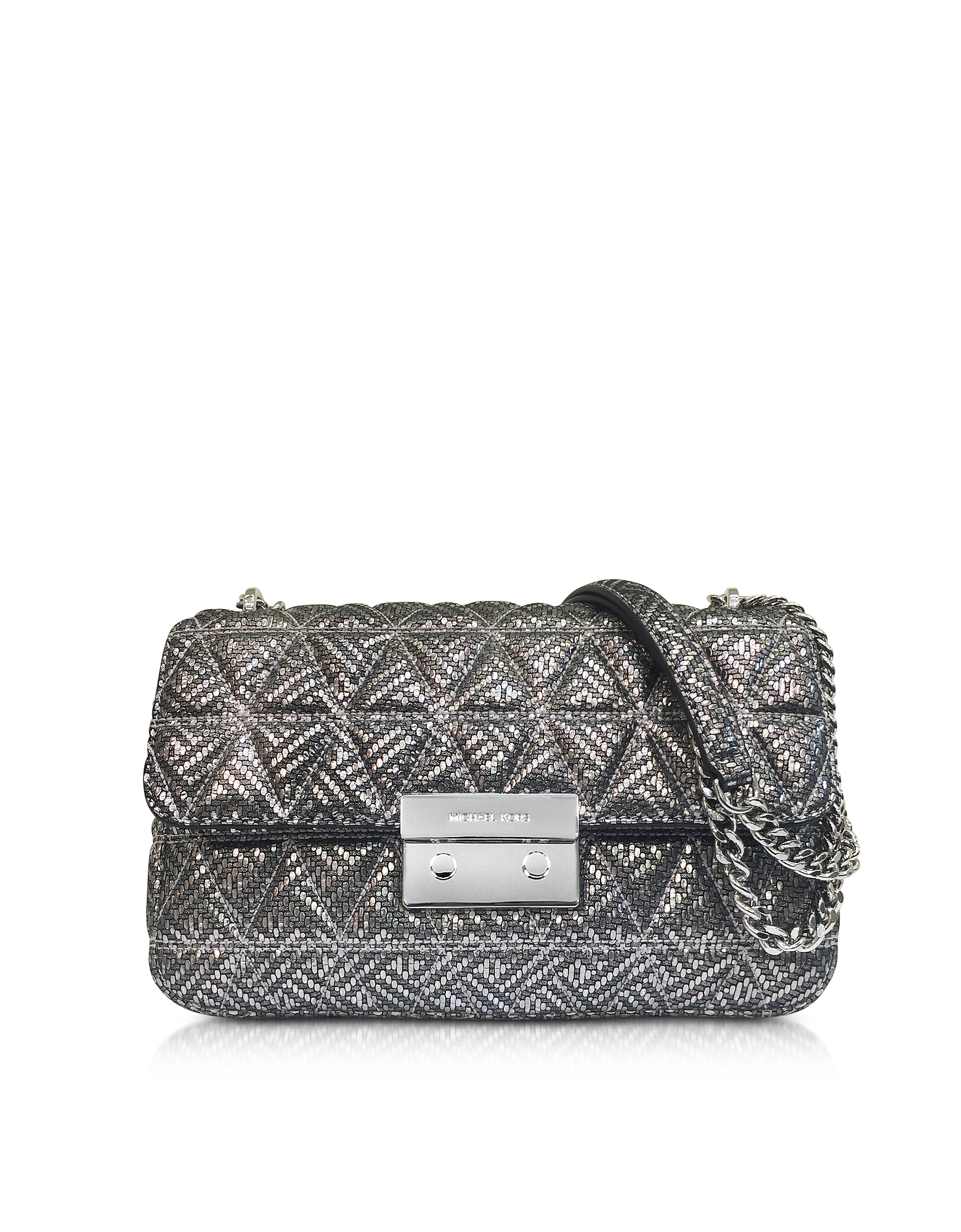 Michael Kors Handbags, Silver Quilted Leather Sloan Large Chain Shoulder Bag