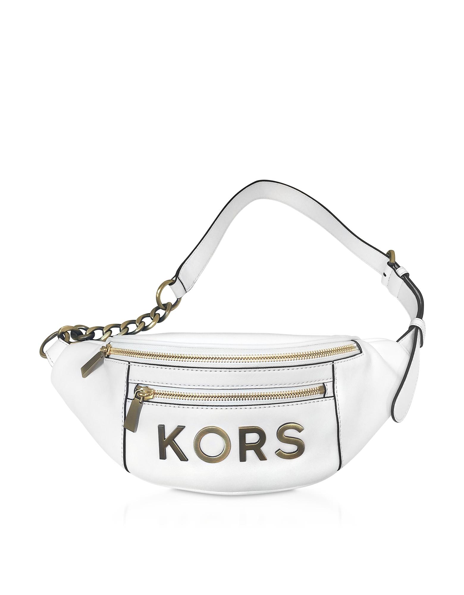 Optic White Kors Medium Belt Bag