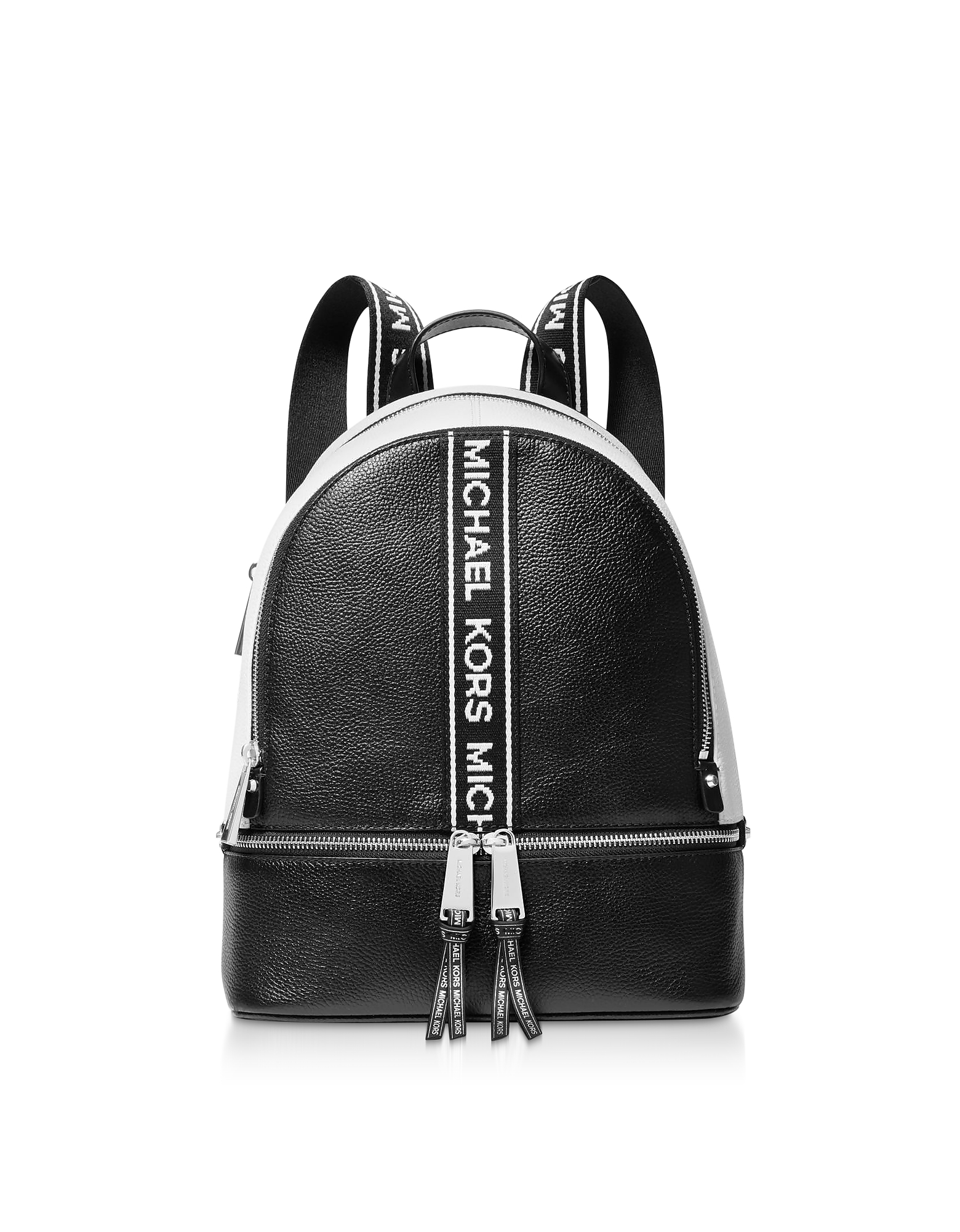 Black and White Rhea Zip Medium Backpack
