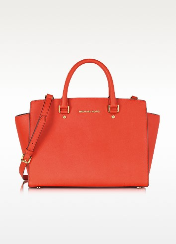 Mandarin Large Selma Top-Zip Saffiano Leather Satchel - Michael Kors