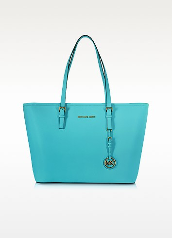 Jet Set Travel Aquamarine Saffiano Leather Top-Zip Tote - Michael Kors