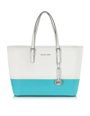 Optic White and Aquamarine Saffiano Leather Medium Travel Tote