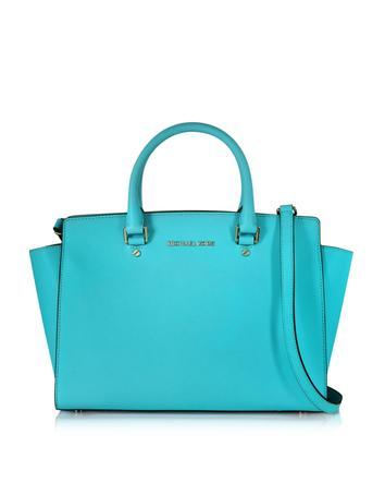 Selma Aquamarine Saffiano Leather Large Top-Zip Satchel Bag