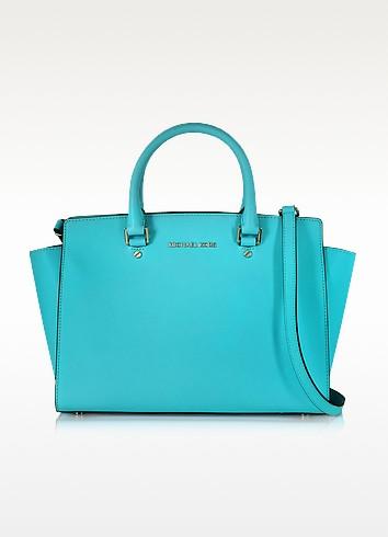 Selma Aquamarine Saffiano Leather Large Top-Zip Satchel Bag - Michael Kors