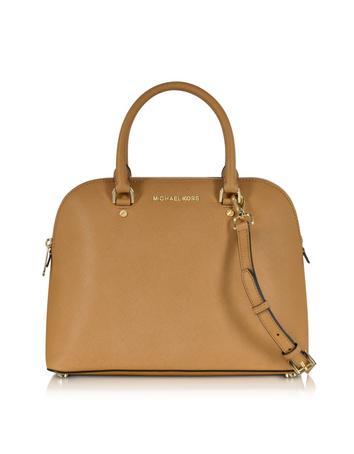 Cindy Large Peanut Saffiano Leather Satchel