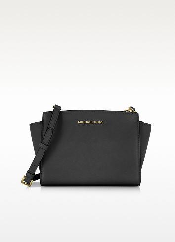 Selma Medium Black Saffiano Leather Messenger - Michael Kors