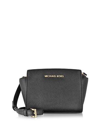 Black Saffiano Leather Selma Mini Messenger Bag