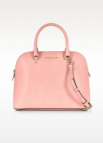 Cindy Large Saffiano Leather Dome Satchel Bag - Michael Kors