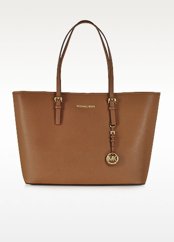 Jet Set Travel Medium Shopper con Zip in Pelle Saffiano Luggage - Michael Kors